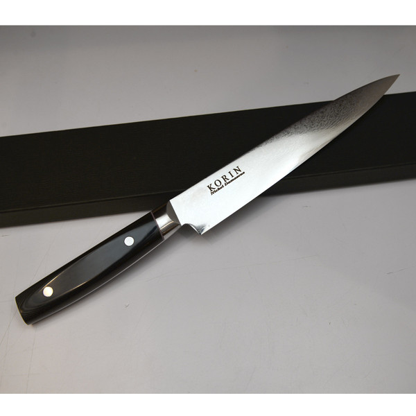 Image of Korin Nickel Damascus Sujihiki with Black Micarta Handle 4