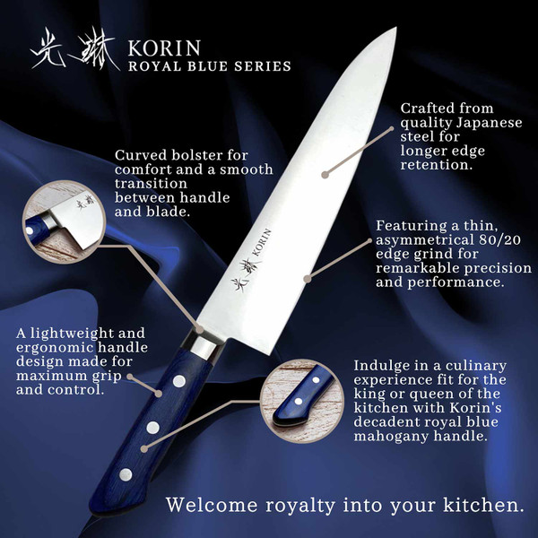 Image of Korin Mahogany Royal Blue Inox Gyuto 2