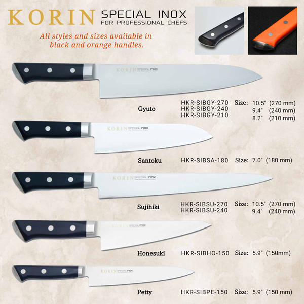 Image of Korin Special Inox Black Handle Gyuto 3