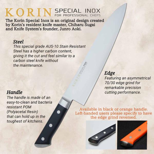 Image of Korin Special Inox Black Handle Sujihiki 2