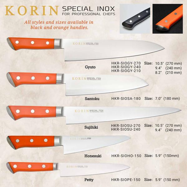 Image of Korin Special Inox Orange Handle Gyuto 6