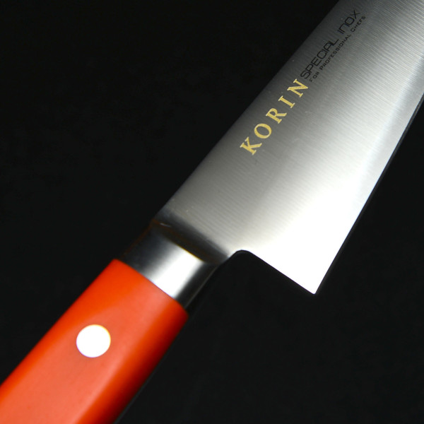 Image of Korin Special Inox Orange Handle Honesuki 3