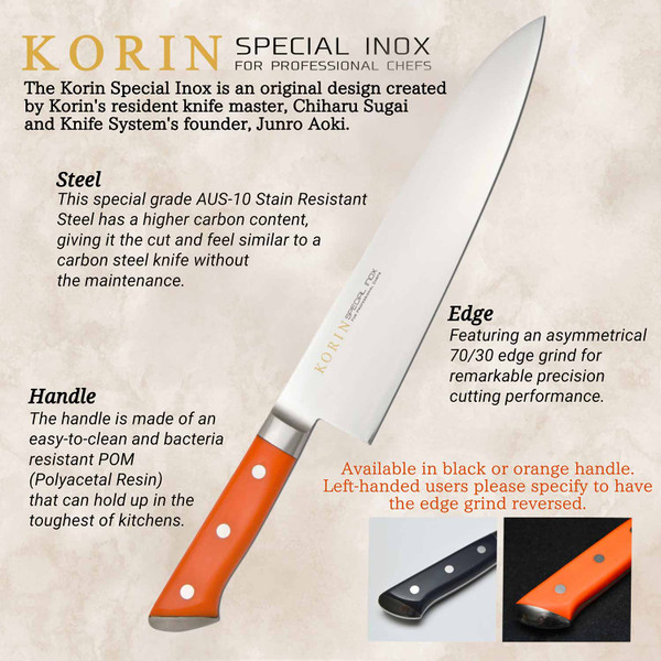 Image of Korin Special Inox Orange Handle Sujihiki 2