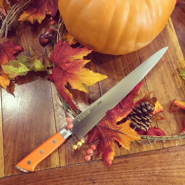 Image of Korin Special Inox Orange Handle Sujihiki 7