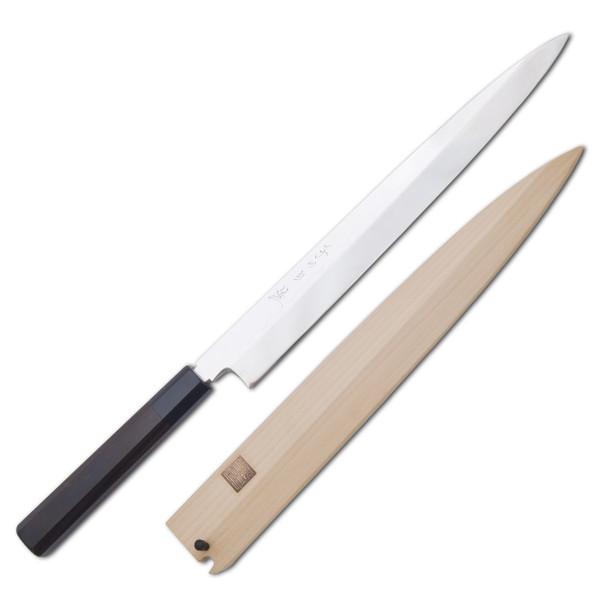 Image of Nenohi Nenox Full Mirror Finished White Steel Honyaki Yanagi with Ebony Handle
