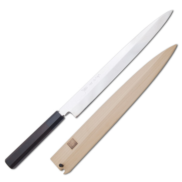 Image of Nenohi Nenox Full Mirror Finished White Steel Honyaki Ebony Handle Yanagi