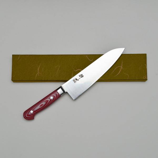 Image of Suisin Premium Inox Rose Red Handle Santoku 3