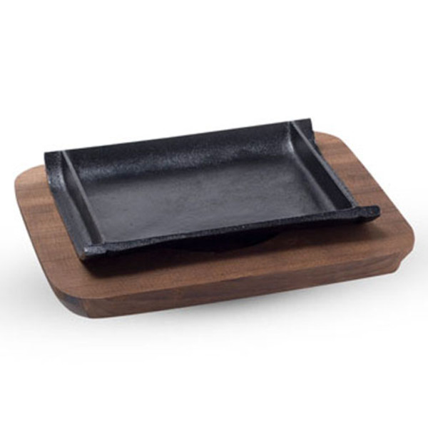 Image of Cast Iron Steak Pan with Wooden Base
