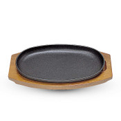 Cast Iron Steak Pan with Wooden Base