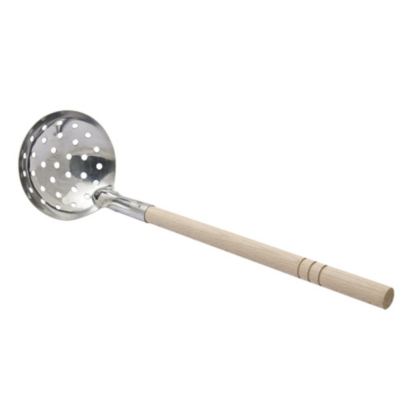 Image of Slotted Ladle with Wooden Handle
