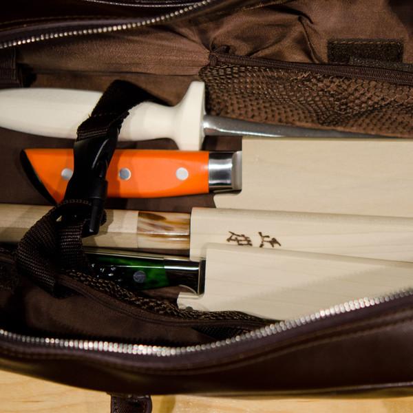 Image of Korin Brown Leather Knife Bag 3