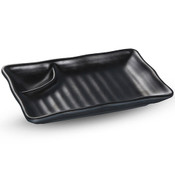 Korin Satin Black Melamine Compartment Plate (Price By DZ)
