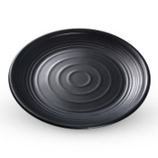 Korin Satin Black Melamine Round Plate (Price By DZ)