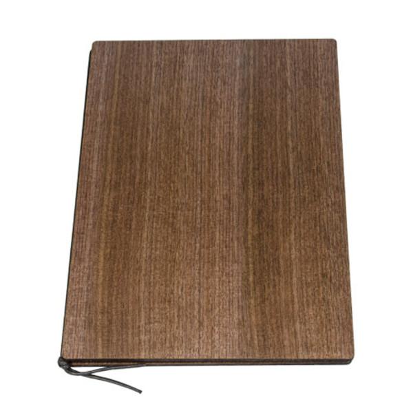Image of Walnut Wood Grain Brown Menu Book 1