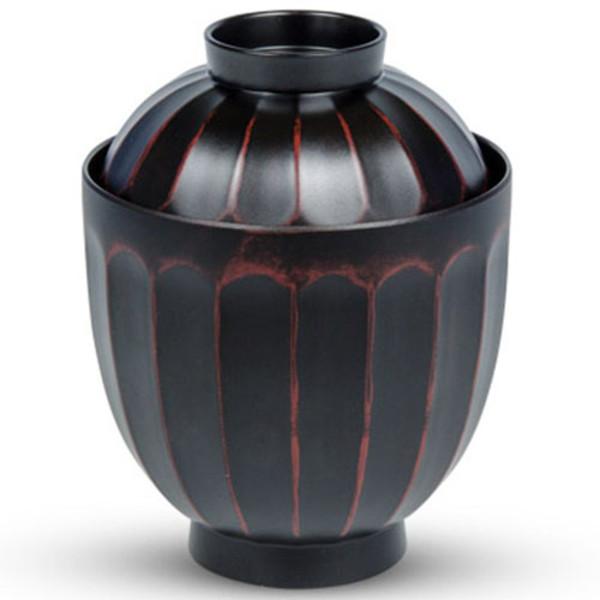 Image of Red Black Plastic Lidded Bowl 1