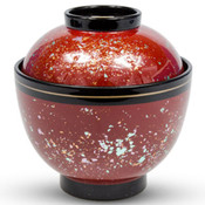 Silver Leaf Red Plastic Lidded Bowl