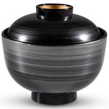 Brushed Silver Black Plastic Lidded Bowl