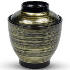 Brushed Black Gold Plastic Lidded Bowl