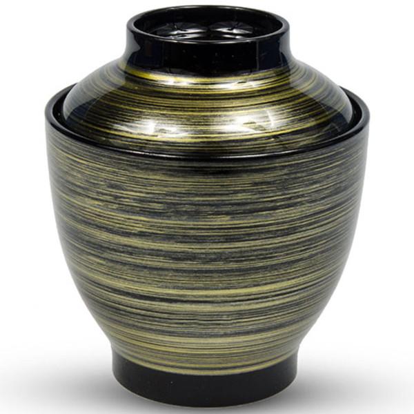 Image of Brushed Black Gold Plastic Lidded Bowl 1
