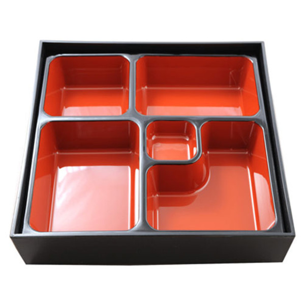 Image of Black and Red Square Bento Box
