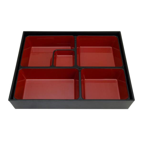 Image of Black and Red Rectangular Bento Box