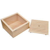 Wooden Inclined Type Sushi Neta Case with Cover