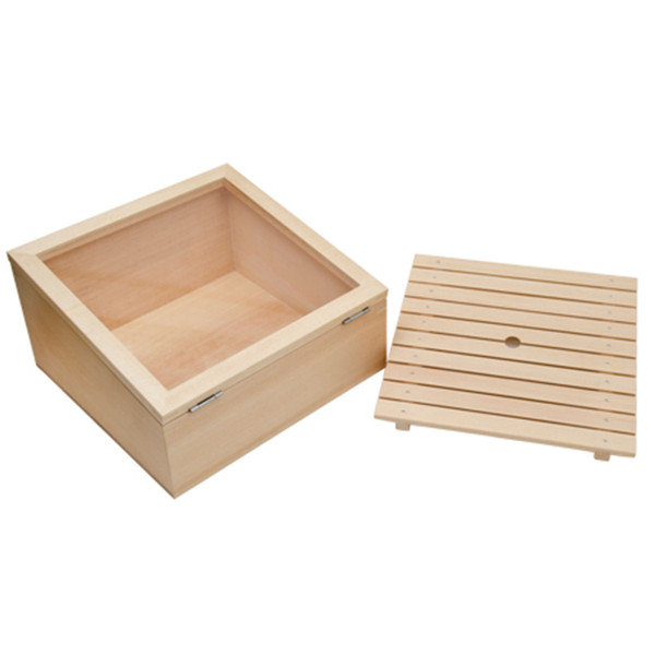 Image of Wooden Inclined Type Sushi Neta Case with Cover