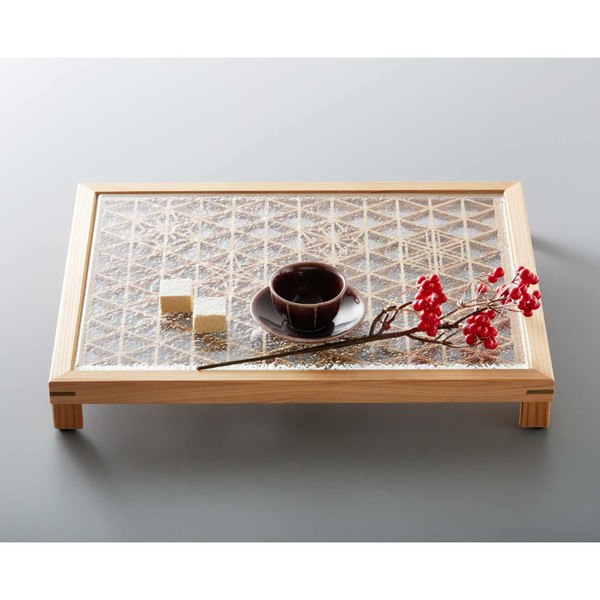 Image of Rectangular Glass and Akita Cedar Kumiko Tray 3