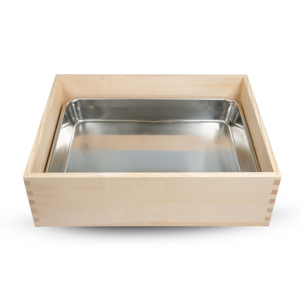 Image of Wooden Sushi Neta Case with Cover and Stainless Pan 2