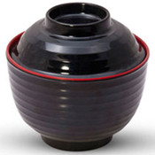 Black Melamine Lidded Soup Bowl