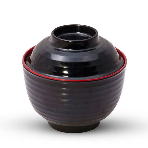 Image of Black Melamine Lidded Soup Bowl