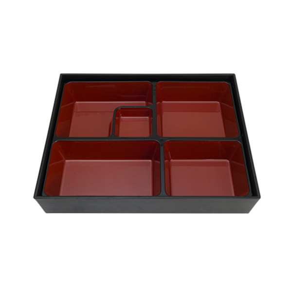 Image of Black and Red Rectangular Bento Box with 5 Divider