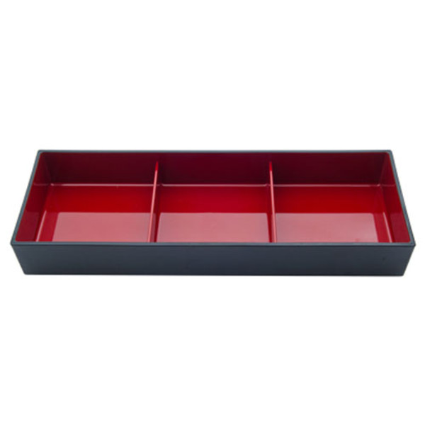 Image of Black and Red 3 Compartment Nagate Bento Box