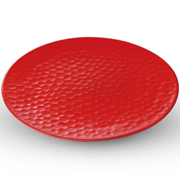 Image of Kamakura Red Flat Round Plate 1