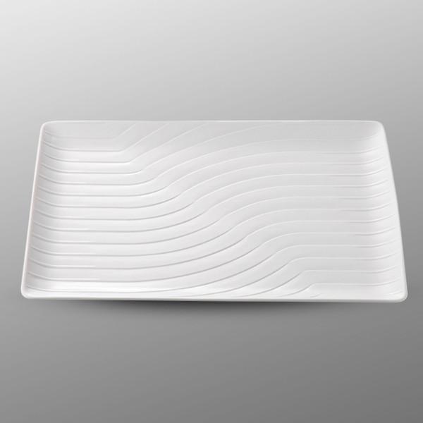 Image of Namihori White Wave Rectangular Plate 1