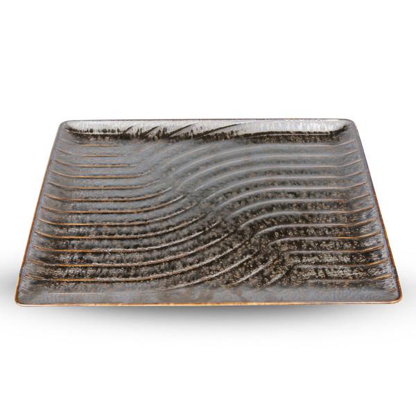 Image of Namihori Iris Bronze Wave Rectangular Plate 1