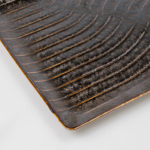 Image of Namihori Iris Bronze Wave Rectangular Plate 3