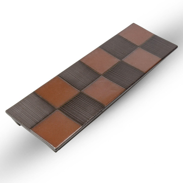 Image of Black Checkerboard Pedestal Plate 1