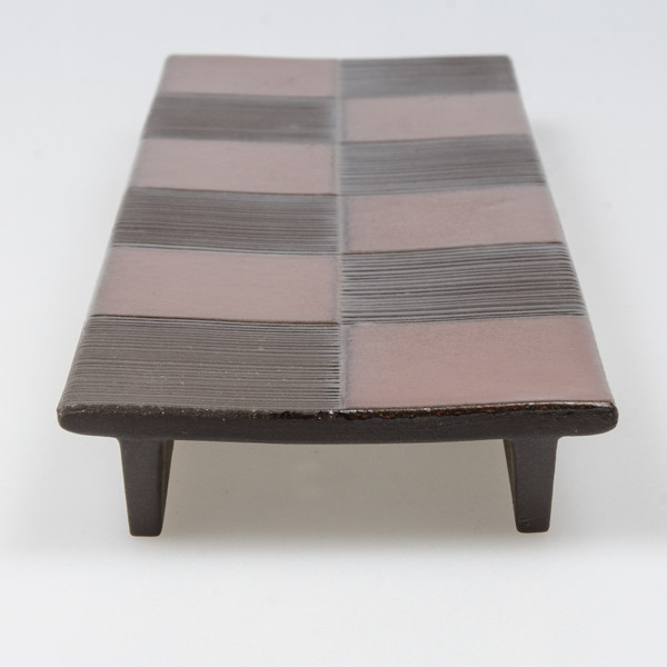 Image of Black Checkerboard Pedestal Plate 4