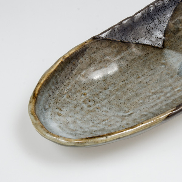 Image of Gray Textured Abstract Oval Plate 3