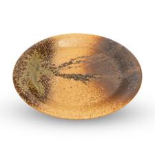 Shigaraki Oribe Brown Round Plate