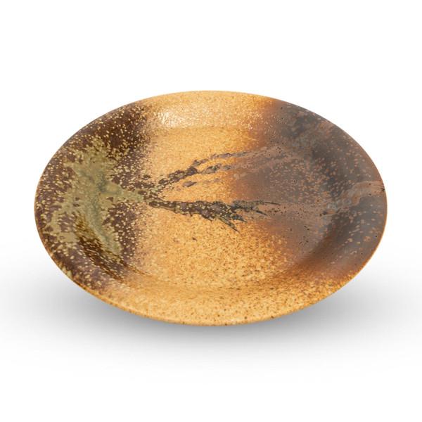 Image of Shigaraki Oribe Brown Round Plate