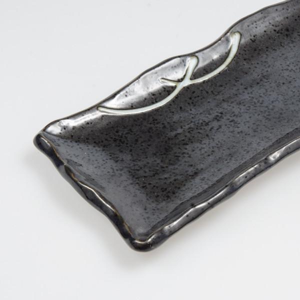Image of Gray Shiroicchin Wave Rim Rectangular Platter 3