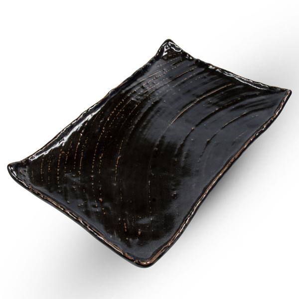 Image of Charred Black Rectangular Platter Plate 1