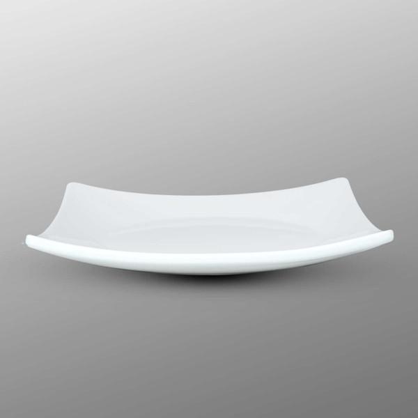 Image of Korin Durable White Raised Corner Square Plate 2