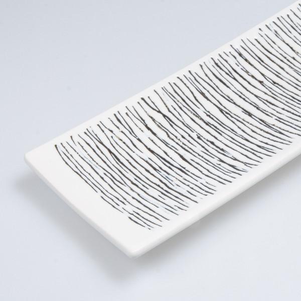Image of Erba Black Striped White Rectangular Plate 3