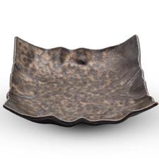 Kinkessho Bronze Crumpled Plate