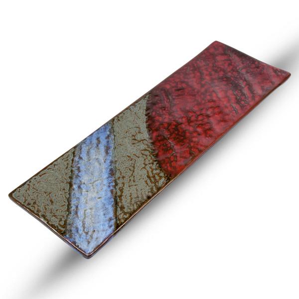 Image of Red Blue Rectangular Slate Plate 1