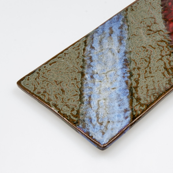 Image of Red Blue Rectangular Slate Plate 3