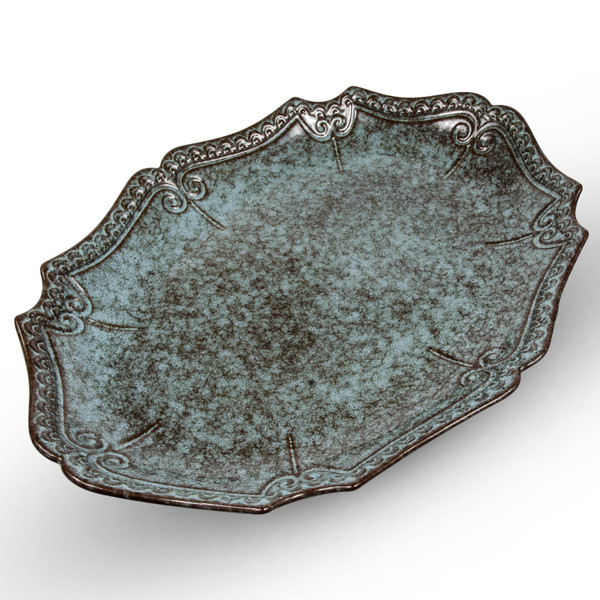Image of Dark Cerulean Blue Oval Plate 1
